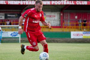 Liam Nash, one of Hemel's many new signings in the off-season, scored again last night (Tuesday) against Dorking to make it three goals from two games for the new Tudor. (Picture by Ben Fullylove).