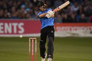 Phil Salt hits out on his way to a match-winning 78 not out against Glamorgan at Hove / Picture by Getty Images