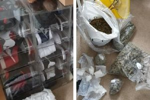 Some of the shoes and drugs seized. Credit: Kettering Proactive Team