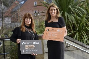 Valerie McConville (Head of Business Development at NI Chamber) and Edel Creery (Head of Communications and Customer Engagement at NIE Networks) launch the NI Chamber Regional Networking Series