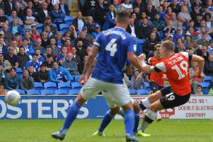 James Collins goes close against Cardiff on Saturday