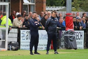 Boss Nicky Eaden and goalkeeper coach James Alger watch on from the sidelines during Kettering Town's 3-0 loss at Darlington on Saturday. Picture by Peter Short
