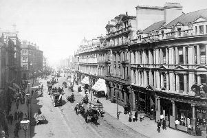 circa 1900:  Traffic on Royal Avenue, Belfast.  (Photo by Hulton Archive/Getty Images)