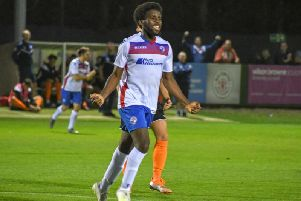 Ben Acquaye celebrates after he scored Diamonds' fourth goal in their 5-1 victory over Leiston at Hayden Road. Picture courtesy HawkinsImages