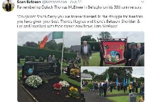 The tweet from Sean Bateson lauding IRA bomber Tom McElwee has been criticised by TUV councillor Timothy Gaston