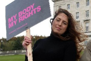 Adrianne Peltz campaigning for Amnesty International at Stormont in 2016.