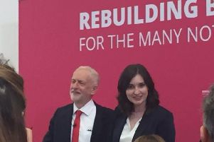 Jeremy Corbyn chose Corby to outline his fight against a no deal Brexit. Pictured here with labour candidate Beth Miller.