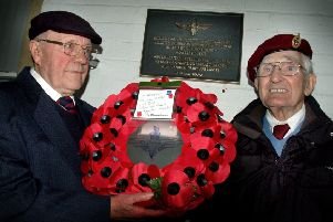 Melton veteran Cis Keightley lays the wreath with John Jefferies, who was based at Staveley Lodge, at the 156 Parachute Regiment reunion in October last year EMN-190819-170507001