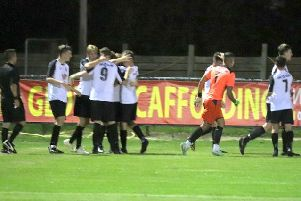 Pagham celebrate their late winner / Picture by Roger Smith