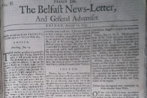The front page of the Belfast News Letter of August 10 1739 (which is August 21 in the modern calendar)