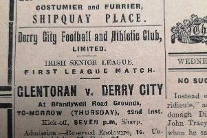 The advertisement for Derry City's first ever competitive game in the 'Derry Journal' in August 22nd, 1929.