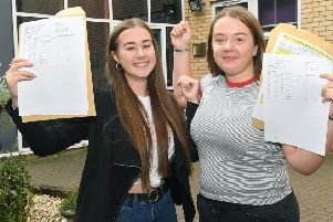 GCSE Results, Kesteven and Sleaford High School. L-R Shannon Booth 16, Alice Booth 16. EMN-190822-185107001