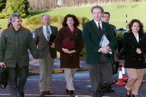 The Sinn Fein delegation arriving at Stormont on December 19 1994 for the second round of talks with NIO officials