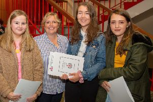 Mrs Stewart (Head of ICT) with Lucy Wright, Anna Campbell and Tayla Holend.