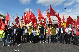 A large turnout for the Irish Congress of Trade Unions solidarity rally at Harland and Wolff recently. Pic: Colm Lenaghan/Pacemaker