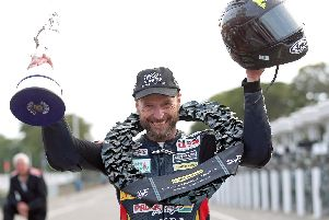 Bruce Anstey won the Lightweight race at the Classic TT on Saturday on his return to action on the Mountain Course following a battle with cancer. Picture: Stephen Davison/Pacemaker Press.