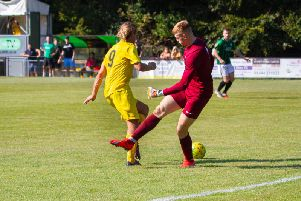 Scott Jones on his way to Chichester's second at Burgess Hill / Picture by Neil Holmes