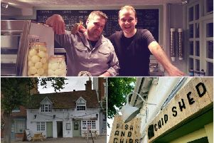 Top: Jamie Little shop manager and Dan Chuter one of the owners, bottom left show Google Street View of The Chip Shed.