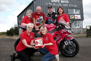 Adam McLean and UGP Clerk of the Course Noel Johnston join Injured Riders' Welfare Fund members Jan Simm, Sharon Neill, Sheila Sinton and Susan Lester to annouce the Fund collected a record �13,900 as the  chosen charity of the fonaCAB Ulster Grand Prix' in 2019. PICTURE BY STEPHEN DAVISON