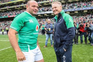 Ireland captain Rory Best and head coach Joe Schmidt after their final game in Dublin against Wales