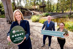 Caroline Adams, left, from Tourism NI with Keith Reilly, operations director, and Nikki Morgan, duty supervisor, at Montalto Estate