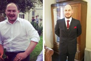 David Mason, pictured before and after his eight stone weightloss. Images supplied.