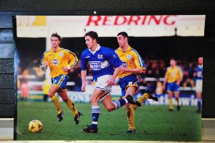 ADam Drury in action for Posh.