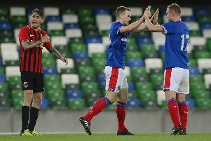 Linfield's Daniel Reynolds pictured after scoring his teams first goal against East Belfast at Windsor Park.' Picture By: Arthur Allison / Pacemaker Press
