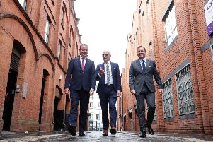 Stephen Kelly, Manufacturing NI, Colin Neill, Hospitality Ulster and Glyn Roberts, Retail NI.   Photo by Kelvin Boyes / Press Eye.