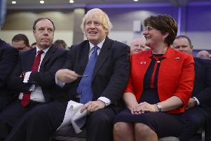 Guest Speaker Rt Hon Boris Johnson MP at the DUP conference last November, with the party's Westminster leader Nigel Dodds, left, and leader Arlene Foster right. He was scathing in his speech then about the backstop dividing the UK. Then months later, in March, he voted for it. Photo: Arthur Allison/Pacemaker Press