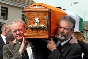 Martin McGuinness and Gerry Adams carrying the coffin of IRA commander Brian Keenan in 2008