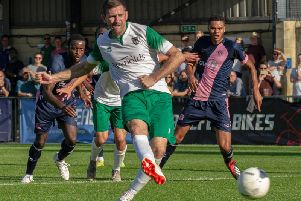 James Crane scores Bognor's penalty / Picture by Tommy McMillan