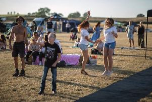 Crowds enjoy dancing to the music at the first ever HopeFest in Linslade