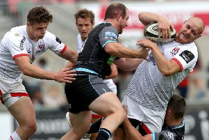 Matt Faddes in action for Ulster in a pre-season friendly this month against Glasgow at Kingspan Stadium.