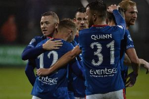 Linfield's Kirk Millar celebrates scoring against Carrick Rangers.