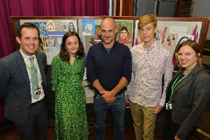 Centre, Adventurer Ed Stafford with Dan Cleary Principal, Lucy Longley, David Stribling and Lorna Kirk at Robert Smyth Academy. PICTURE: ANDREW CARPENTER