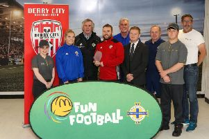 Pictured is Andrew Morgan McDonalds, Emer Rooney McDonalds, Dermond Rooney McDonalds, Amy Quigley IFA, Rory Kehoe, Derry City Ladies FC, Malcolm Roberts IFA, Kevin Doherty IFA and Trevor Erskine IFA