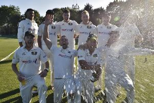 Peterborough celebrate after they were crowned Premier Division champions. Picture by David Lowndes