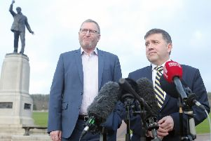 Robin Swann (right) shocked party colleagues by announcing that he will be resigning, with Doug Beattie (left) the first to consider standing for the job