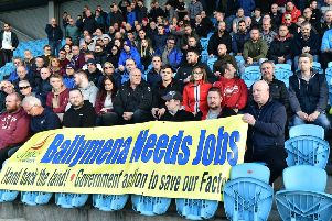 Wrightbus workers and supporters at a meeting at The Ballymena Showgrounds on Wednesday