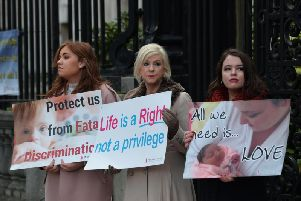 Pro-life protesters pictured outside the High Court in Belfast earlier this week. (Photo: Pacemaker)