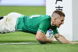 Ireland's Andrew Conway goes over for the crucial bonus point securing fourth try against Russia