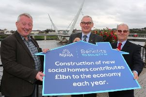 Northern Ireland Federation of Housing Associations (NIFHA) Annual Conference''Benefits to Society NI launch''(from left) are Jon Lord OBE, chair, Greater Manchester Housing Providers, Dr. John McPeake, chair, NIFHA, and Prof Peter Roberts, chair, NI Housing Executive.