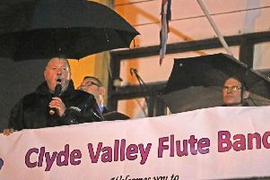 Sammy Wilson MP speaking at a rally in Larne in support of the Clyde Valley Flute Band