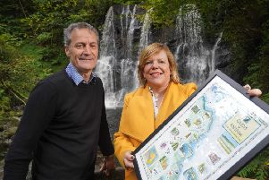 Gary O'Loughlin, Laragh Lodge with Kelli Bagchus, manager of Carrickfergus Enterprise. Photo by Aaron McCracken