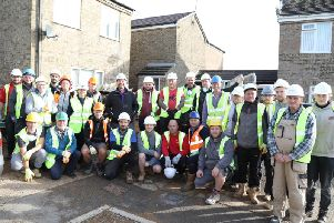 DIY SOS presenter Nick Knowles and some of the volunteers