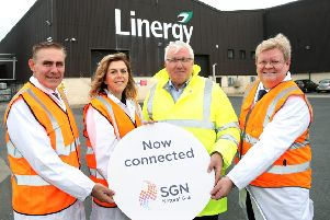 Pictured from left are:Paddy Larkin, Chief Executive, Mutual Energy; Tanya Hedley, Director of Networks, Utility Regulator; Sean McShane, Managing Director, Linergy; and Danny O'Malley, Director, SGN Natural Gas. Pic by Declan Roughan