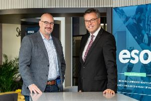 Alastair Hamilton, CEO of Invest Northern Ireland (right) and Chris Dillie, President and CEO of ESO. Pic by Andrew Towe.