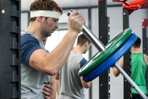 Ireland's Iain Henderson during a gym session in Fukuoka. Pic by INPHO.