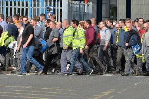 Wrightbus workers leaving the factory
